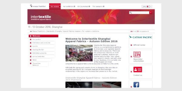 2016年10月11日~13日開催の「Intertextile SHANGHAI apparel fabrics」の公式WEBサイト